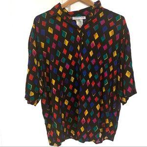 Vintage 90s/80s black buttonup shirt diamond print